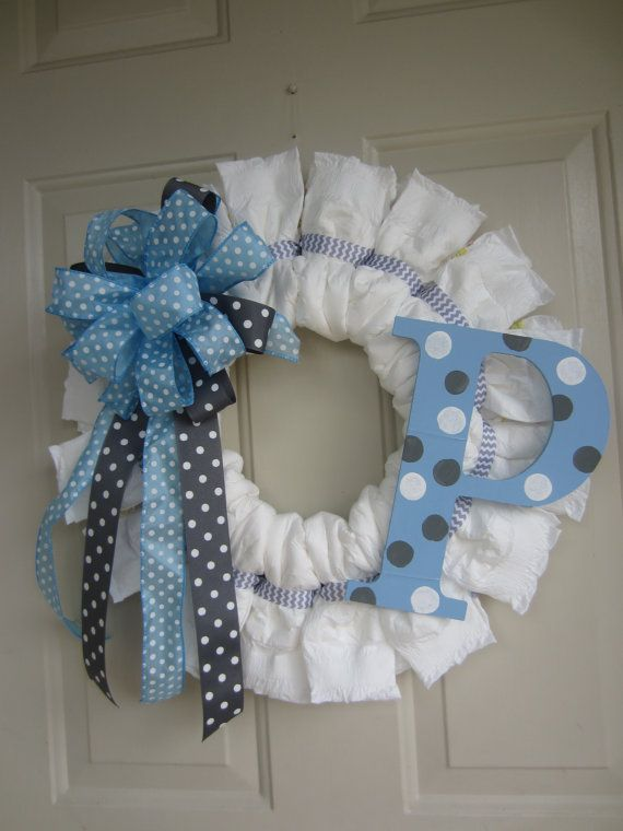 Blue White and Grey Baby Boy Diaper Wreath with Polka Dot Initial and Chevron…
