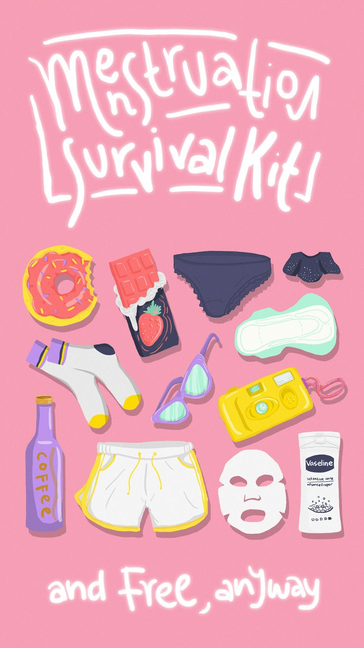 Menstruation Survival Kit #illustration #girlsproblem #hobbies