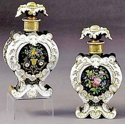 Perfume Bottles (2); Petit (Jacob), Floral, Foliate Stoppers, 10 inch.