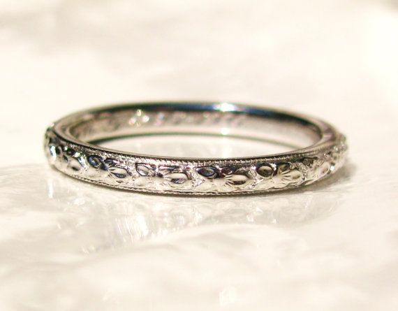 Antique Art Deco Wedding Band Orange Blossom Ring 18K White Gold Ladies Wedding Band Antique Wedding Ring Stackable Ring Size 4.25