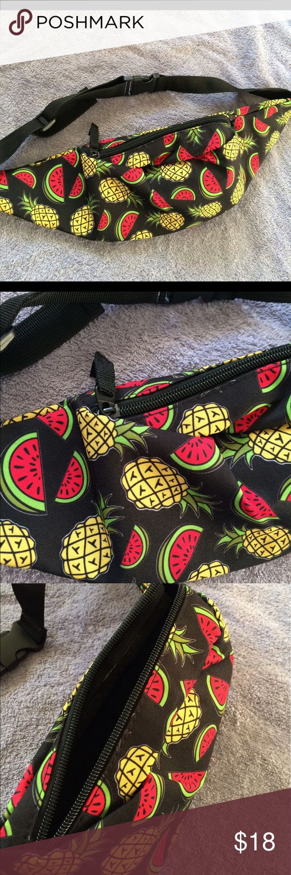 SALE Pineapple + Watermelon festival fanny pack! Brand new and never worn black fanny pack with pineapples and watermelons! Super cute & amazing quality! Holds a lot for its compact size; perfect for any music festival, rave etc. ;-) VS Pink for exposure ✅check out all my items (inlcuding this one!) on vinted & mercari FOR LESS (+cheaper shipping!)  PINK Victoria's Secret Accessories