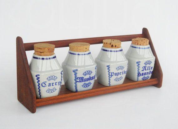 Vintage Soholm Denmark set of 4 spice jars art pottery and teak rack midcentury scandinavian modern blue kitchen storage containers retro