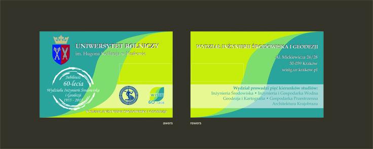 Projekt pendrive dla UR Kraków - Wydział Inżynierii Środowiska i Geodezji z okazji 60-lecia wydziału. Pendrive w formie karty z nadrukiem.