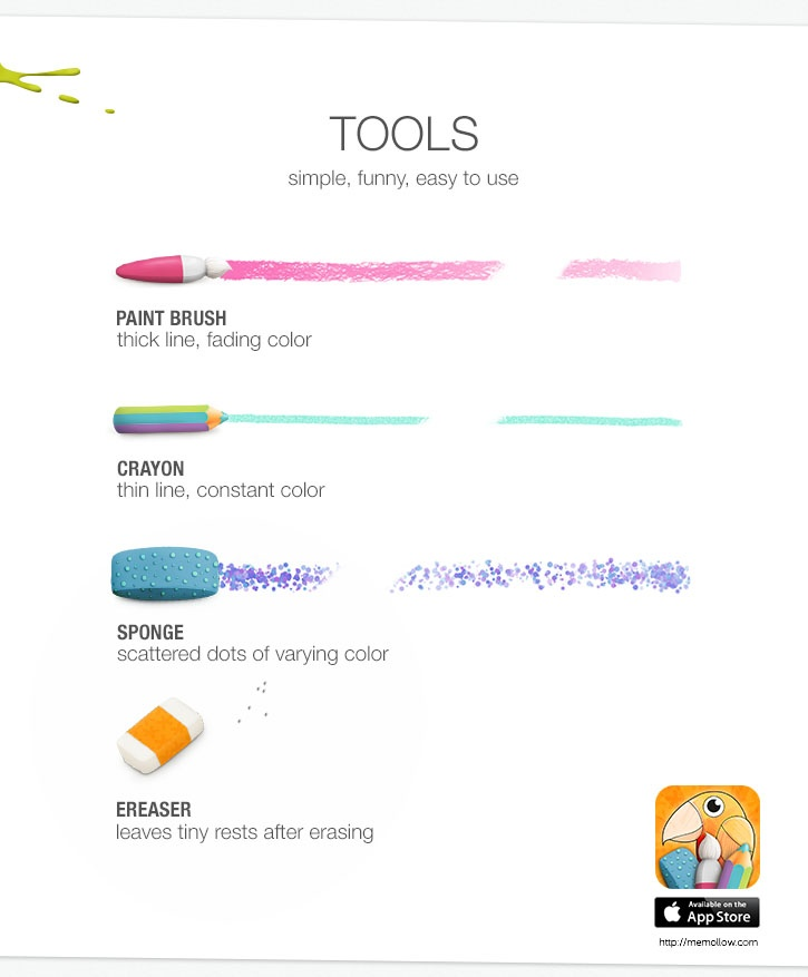 Memollow Coloring Pages Tools (simple, funny, easy to use)