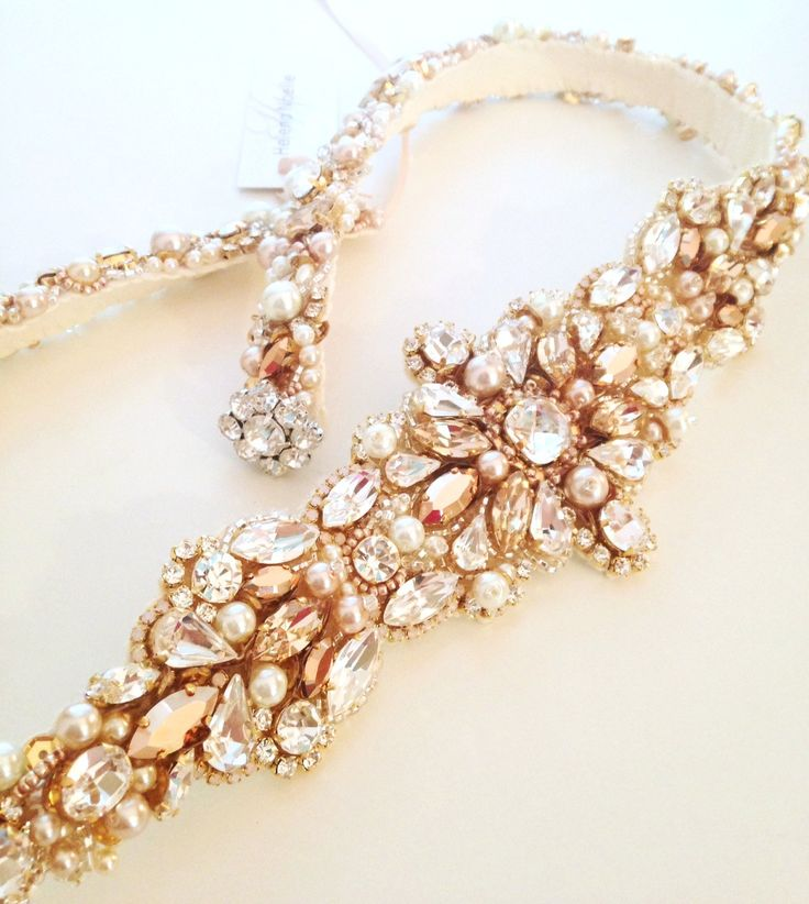 Rose Gold Crystal Bridal Belt SWAROVSKI Rhinestone Sequin And Pearl Sash By