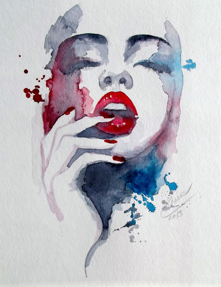 I really like this water color painting because I like how the artist uses only two pops of color, but lightly blends them. The great thing about red and blue is that they are able to create al shades of beautiful purple as represented in this painting. I love how dark and rich the red is by the lips, which really makes them stand out. Lastly I like how the color frame the face, sort of creating the illusion of bone structure, and then fizzled out into just sporadic drops.