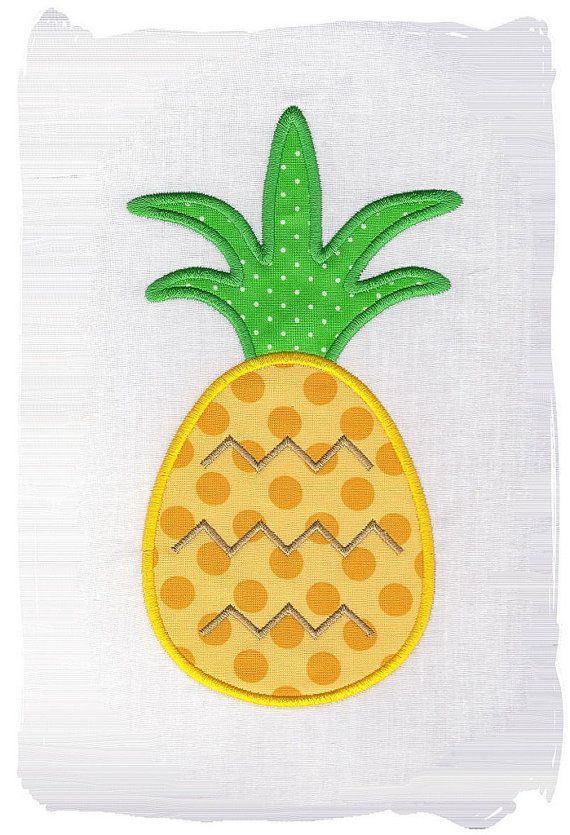 Pineapple Machine Applique Embroidery Design by pinkfrogcreations, $2.80