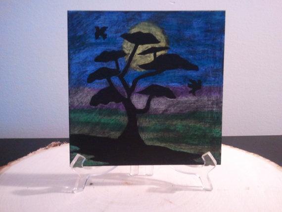 Tree with Birds In Moon Light by TsWorldOfArt on Etsy, $9.00: Moon Light