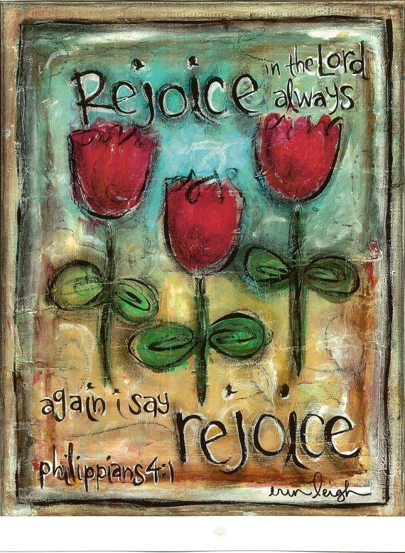 Scripture Art, Rejoice in the Lord Always (Phil 4.1), 8x10 Fine Art Print on Etsy, $18.00