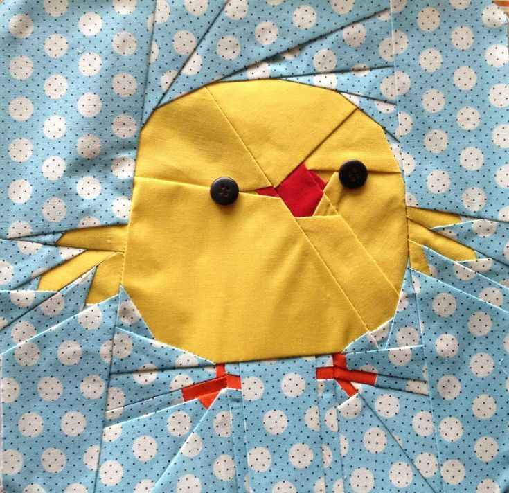 Free Easter Chick pattern + How to Free Motion Quilt Easter Eggs - with Leah Day @ sew-whats-new.com