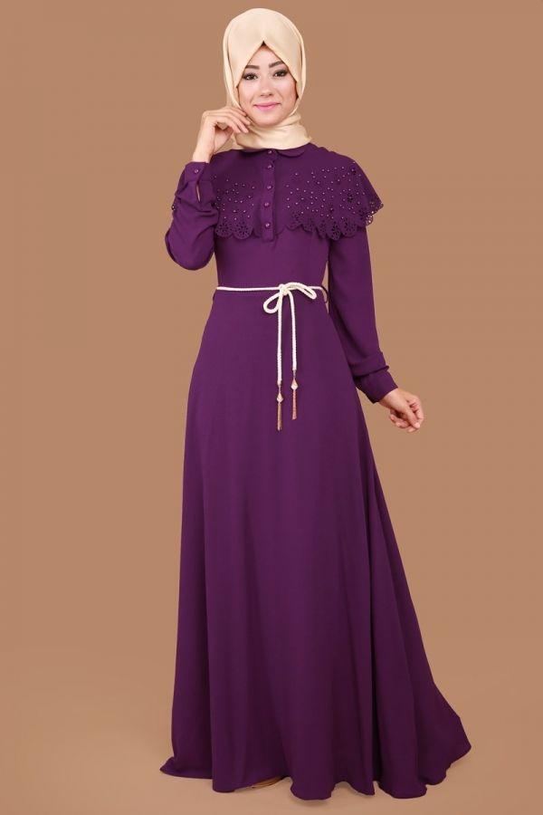 Pelerini İnci Detay Elbise Mor Ürün kodu: MDH6440 --> 109.90 TL
