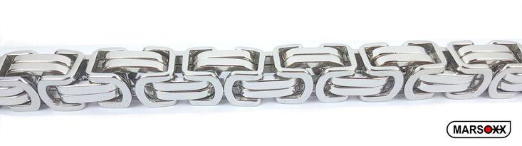 MARSOXX Extrem lange und breite Byzantiner Königskette aus Edelstahl - 15mm breit und 100cm lang.