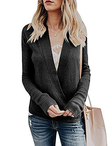 67339d70b8 Women's Long Sleeves V Neck Sweater Pullover Cross Wrap F... https:/