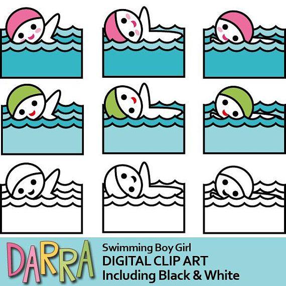 Sticker clipart swimming clipart planner girl swim clip art