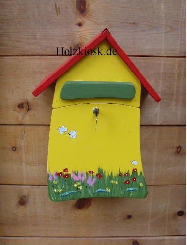 Holzbriefkasten Postvilla gelb