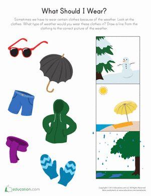 Preschool Science Weather & Seasons Worksheets: What to Wear Weather Worksheet