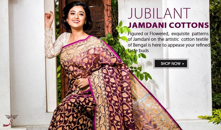 One of the finest varieties of muslin, #Jamdanicottonsaree is a woven fabric in #cotton that is either figured or flowered and is the most artistic textile of Bangladesh and #WestBengal.