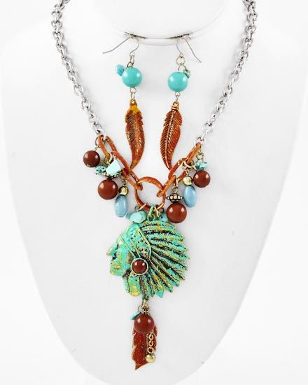 Two-tone / Brown Acrylic & Turquoise Stone / Patina Finished Metal / Lead Compliant / Indian Headdress W/feather Design / Charm Necklace & Fish Hook Earring Set