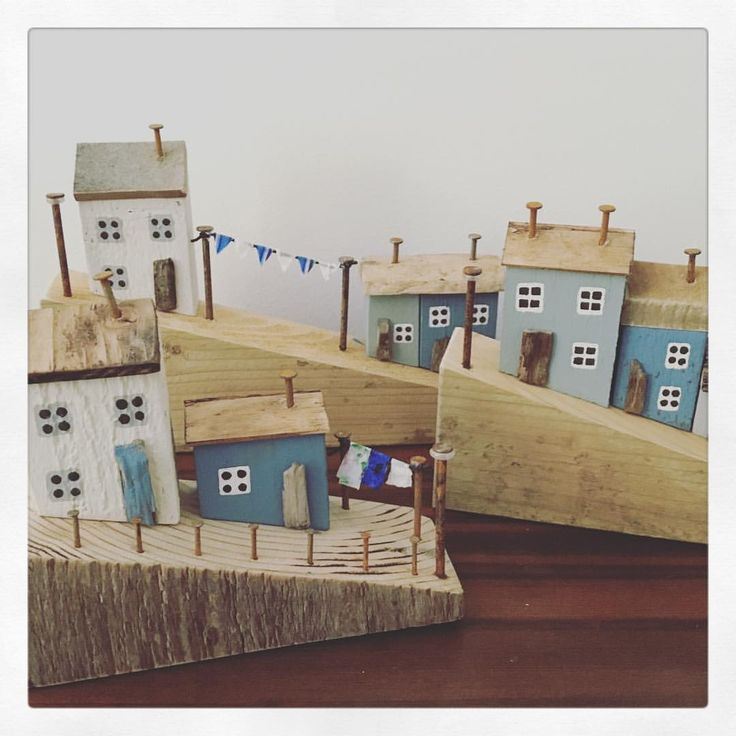 """17 Likes, 1 Comments - Marine Blue (@marinebluehandmade) on Instagram: """"A whole street of little houses finished today 💙 #driftwood #reclaimed #seasidestuff #handmade…"""""""