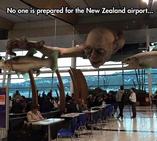 is this foreshadowing? do the fish represent airplanes? if so, what does Golem represent?? what the heck, New Zealand???