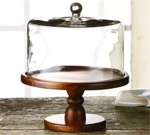Vintage Wooden Cake Pedestal with Glass Dome