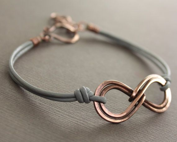 Unisex double infinity copper bracelet with gray leather and handmade hook clasp - Infinity bracelet - Unisex bracelet