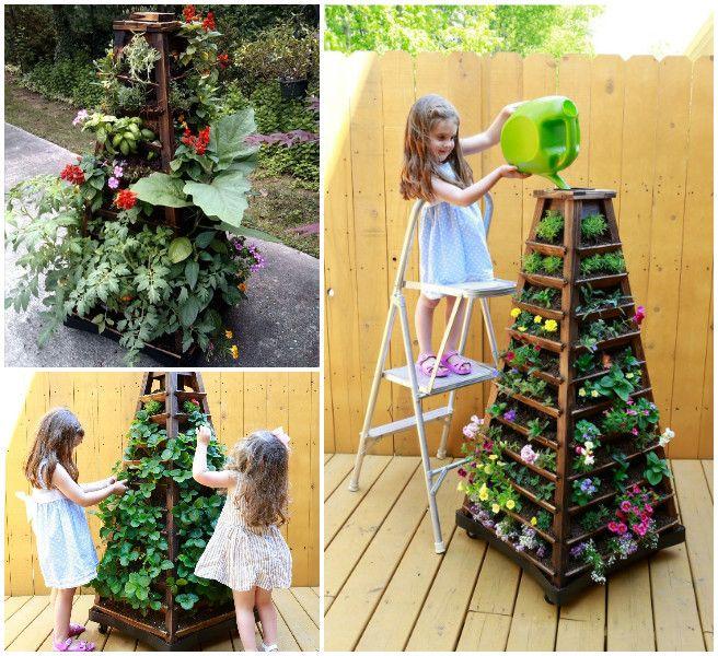 Earth Tower Vertical Garden Planter on Wheels  #Gardening