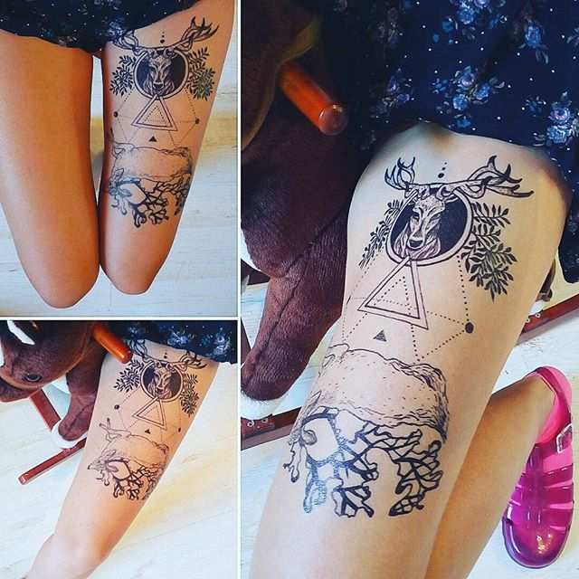 #inkorgy #blackink #freehandsketch #tattoo #deer #inkonfeet #selftattoo