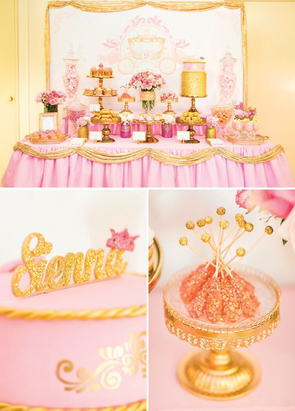 Royal Princess 1st Birthday Party Dessert Table {Pink & Gold}