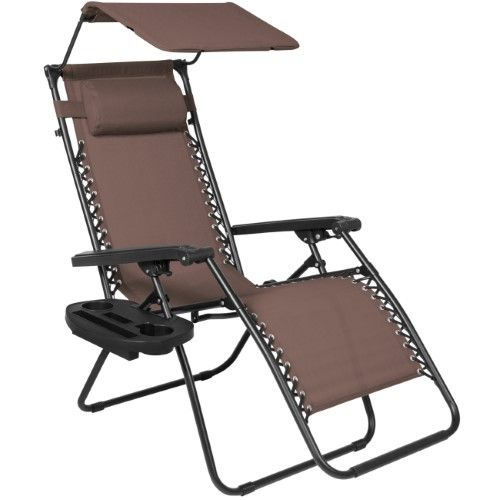 BCP Folding Zero Gravity Lounge Chair W/ Canopy & Magazine Cup Holder, Brown