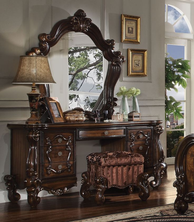 Acme Versailles Vanity Desk in Cherry Oak 21107 HOME