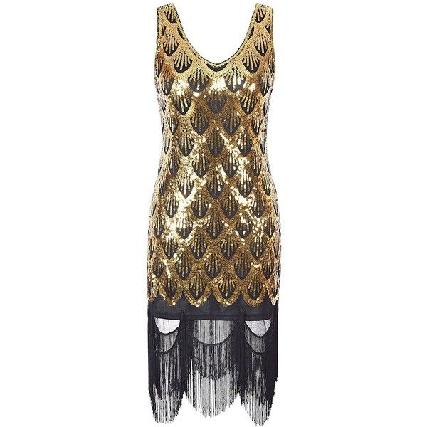 PrettyGuide Women 20s Great Gatsby Sequin Fishscale Embellished Fringe... (€13) ❤ liked on Polyvore featuring dresses, brown dress, fringe flapper dress, sequin flapper dress, flapper dress and fringe flapper cocktail dress