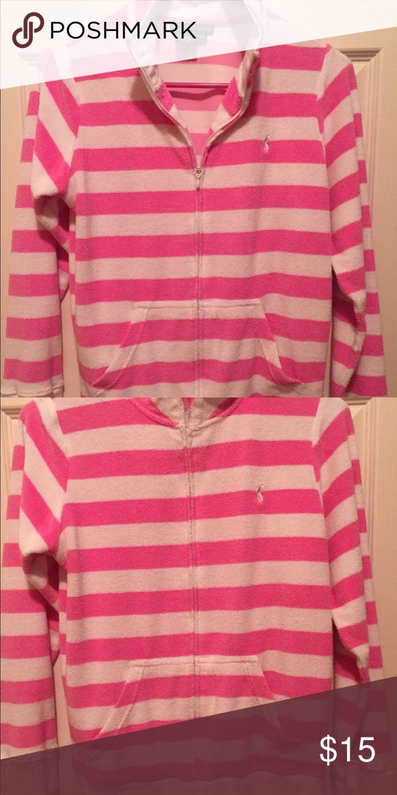 Women's, Ralph Lauren, Zip Up Sweatshirt. Size XS. Women's, Ralph Lauren, Zip Up Sweatshirt. Size XS.   Terry cloth material. Pink and white stripes. Zip up.  Like new condition- Front Pockets   No stains, holes, etc. Smoke free home Ralph Lauren Tops Sweatshirts & Hoodies