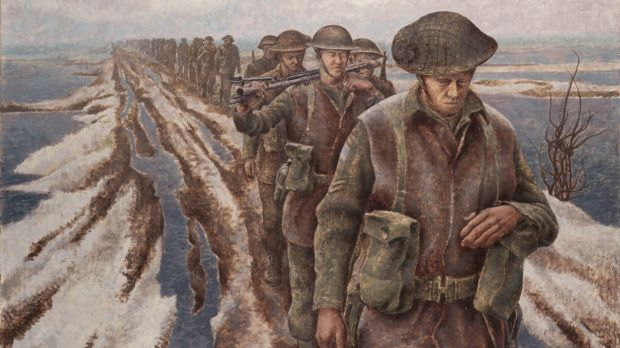 "Canadian War Artists. ""Infantry, near Nijmegen, Holland, 1946"", Alex Colville. The face of the soldier in the foreground was modeled after his father's. His father served in the Great War."