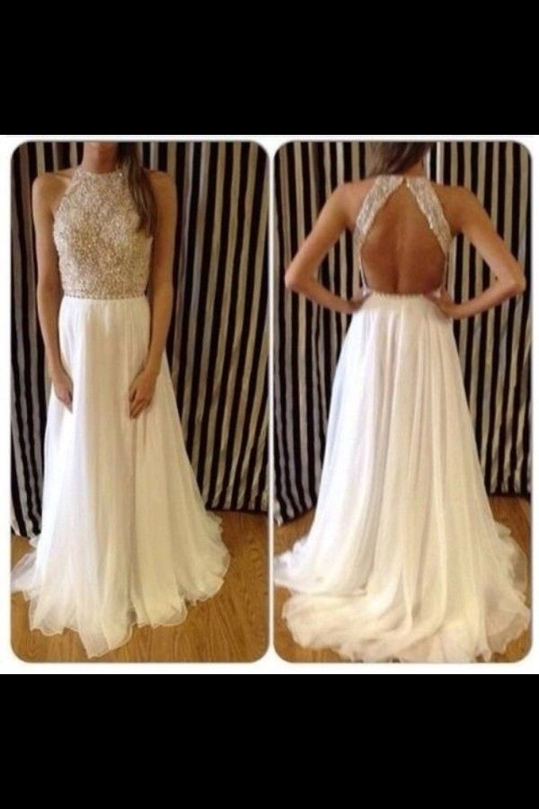 Dress: prom long prom es white silver high neckline high neck jewels cream prom , white, open back,