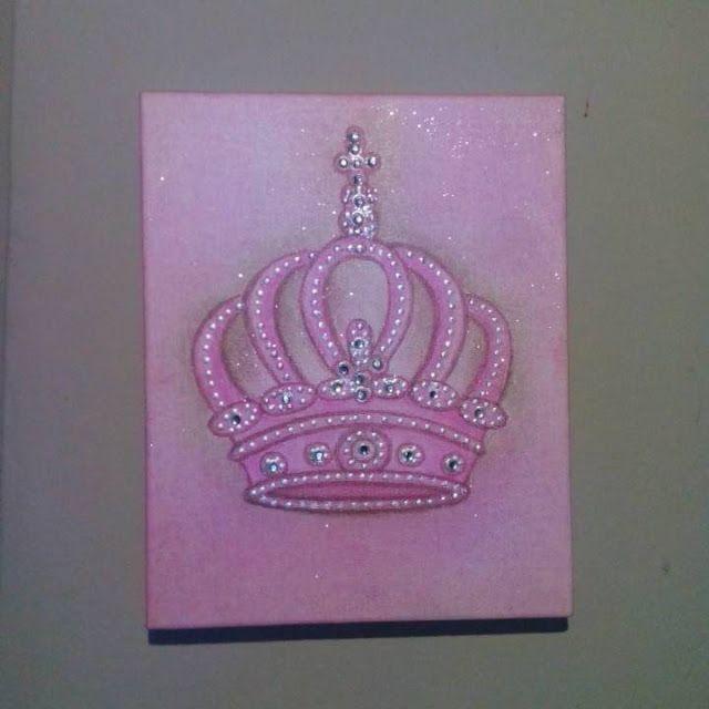 Kids Nursery Prints: Canvas Art, Princess Art, PInk, Crown Art, Girl Nu...