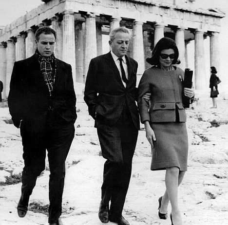 Marlon Brando and Jules Dassin at Acropolis, Athens