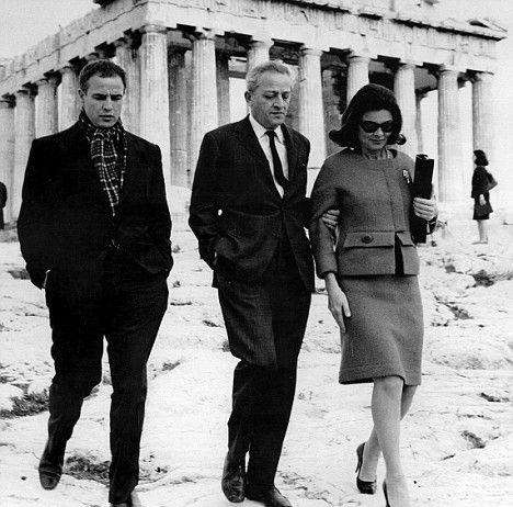 Marlon Brando and Jules Dassin at Acropolis, Athens