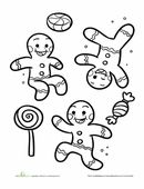 The Gingerbread Man is kicking up crumbs! Color the gleeful cookie in this gingerbread man coloring page.