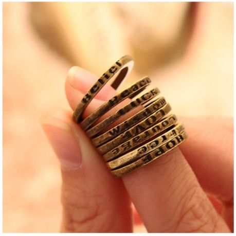 0.22 euro incl shipping (Mini Order $10 Mix) Retro Vintage Simple Lettering Ring For Making A Wish Fashion Crystal Finger Ring(JM R009)-in Rings from Jewelry on Ali...