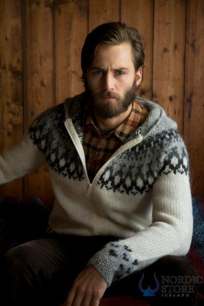 Skipper Hooded Cardigan - White. Hand-knit in Iceland. Handsome guy not included.