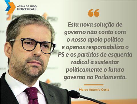 Posição do Partido Social Democrata face à indigitação de António Costa para Primeiro-Ministro. #acimadetudoportugal