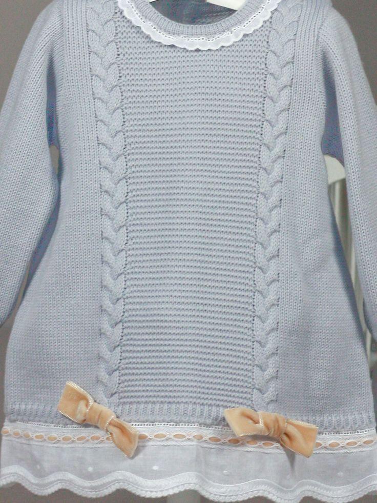Vestido punto manga larga gris ondas Rochy de Bebe | Les Bébés