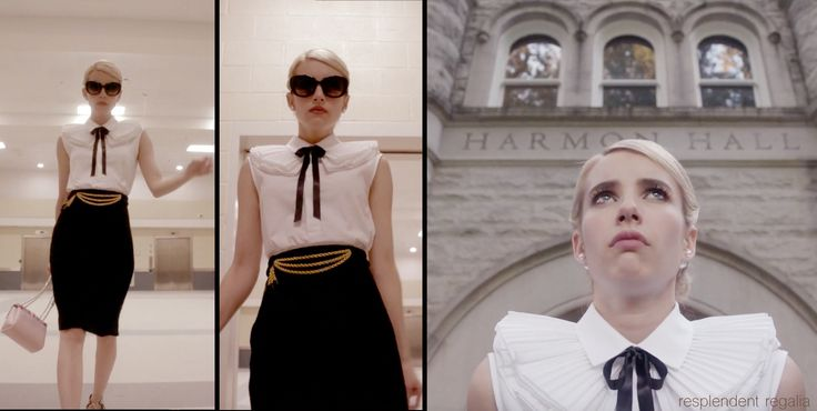 Chanel Oberlin (played by Emma Roberts) in white top, black skirt and black ribbon bow (from Scream Queens episode 4 - Pumpkin Patch)