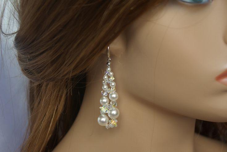 Swarovski Crystal Earrings Wedding Bridal Bridesmaid Drop Earrings Swarovski AB Earrings Swarovski Pearl and Crystal Dangle AB Earrings by AuroraCrystalPassion on Etsy