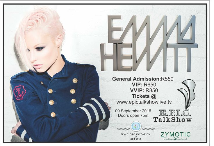 Book tickets for EMMA HEWITT IN SA WITH THE E.P.I.C.TalkShow Production Series!