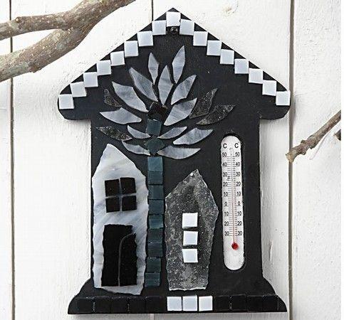 Casa termometru cu mozaic din sticla