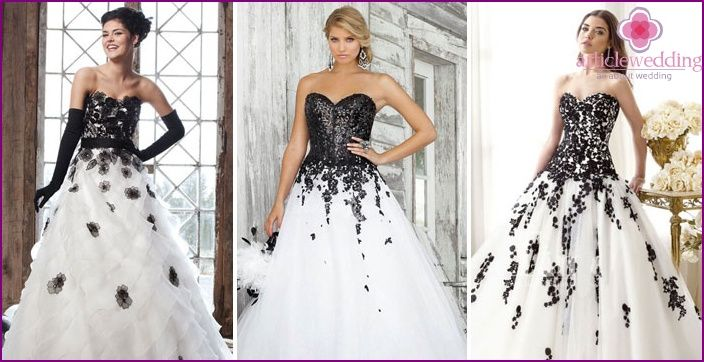 Black and white wedding dresses - model 2015 and the related accessories with photos