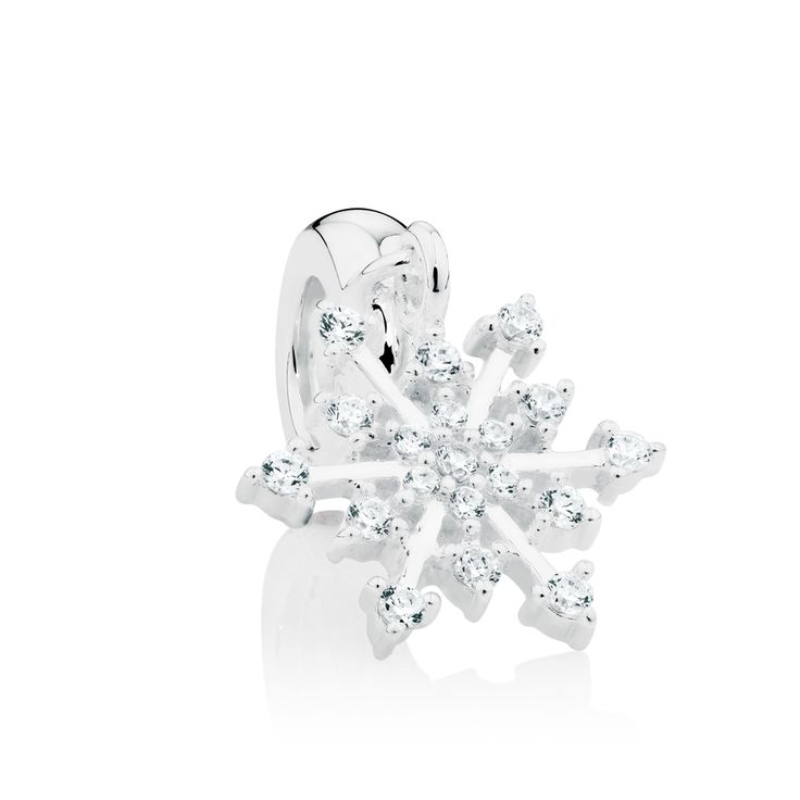 Sterling silver & cubic zirconia snowflake charm.