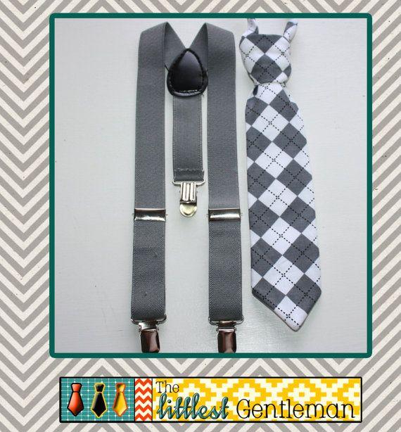 Grey Argyle Toddler Boys Baby Black Suspenders and Tie Set, Kids suspender, Boys suspender, Toddler suspender